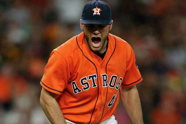 Houston Astros starting pitcher Lance McCullers (43) reacts after striking out Los Angeles Angels third baseman Yunel Escobar to end the eighth inning of an MLB baseball game at Minute Maid Park, Friday, July 22, 2016, in Houston.