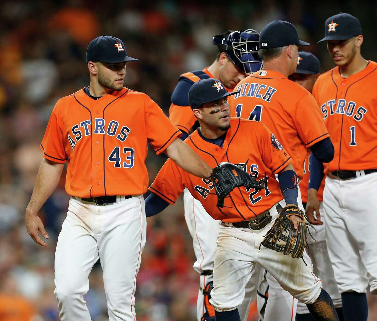 July 22: Astros 2, Angels 1 Houston Astros starting pitcher Lance McCullers (43) reacts as manager A.J. Hinch pulled him during the ninth inning of an MLB baseball game at Minute Maid Park, Friday, July 22, 2016, in Houston.