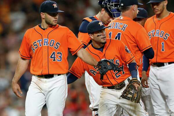 Houston Astros starting pitcher Lance McCullers (43) reacts as manager A.J. Hinch pulled him during the ninth inning of an MLB baseball game at Minute Maid Park, Friday, July 22, 2016, in Houston.