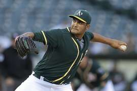 Oakland Athletics pitcher Sean Manaea works against the Tampa Bay Rays during the first inning of a baseball game Friday, July 22, 2016, in Oakland, Calif. (AP Photo/Ben Margot)