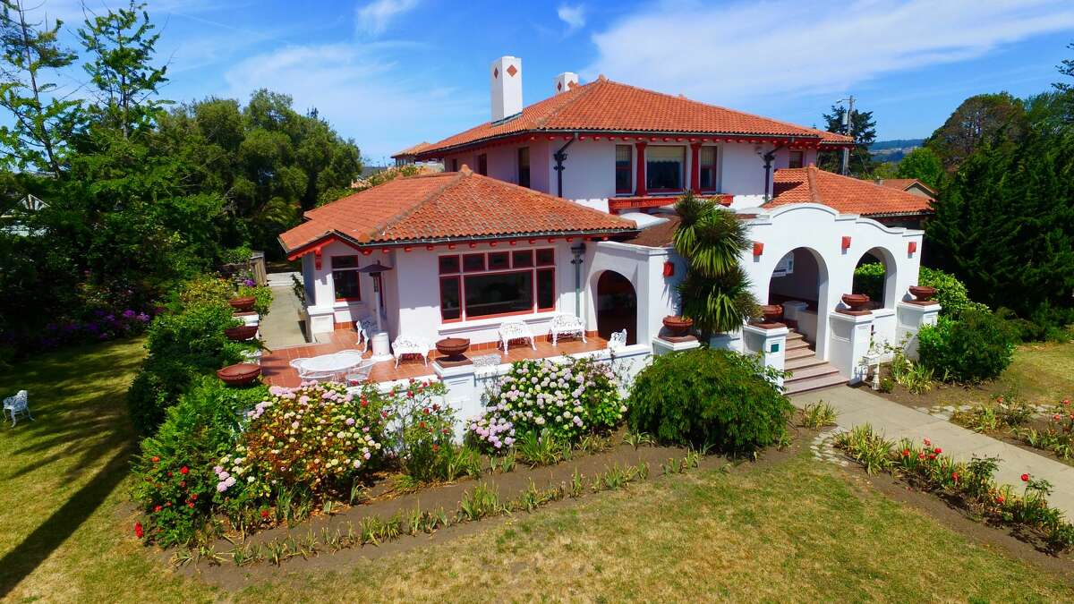 On a bluff overlooking Monterey Bay, this Santa Cruz estate builtin 1913 by California architect W.H. Weeks is on the market for $6.5 million. The eight-bedroom home has operated as a bed and breakfast for the past 30 years, and a new owner could continue this legacy or easily convert it to a private residence.