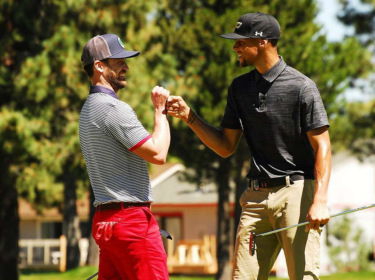 Stephen Curry and Justin Timberlake golfed together at the American Century Championship at Edgewood Tahoe Golf Course in Stateline, Nev. on July 23, 2016.