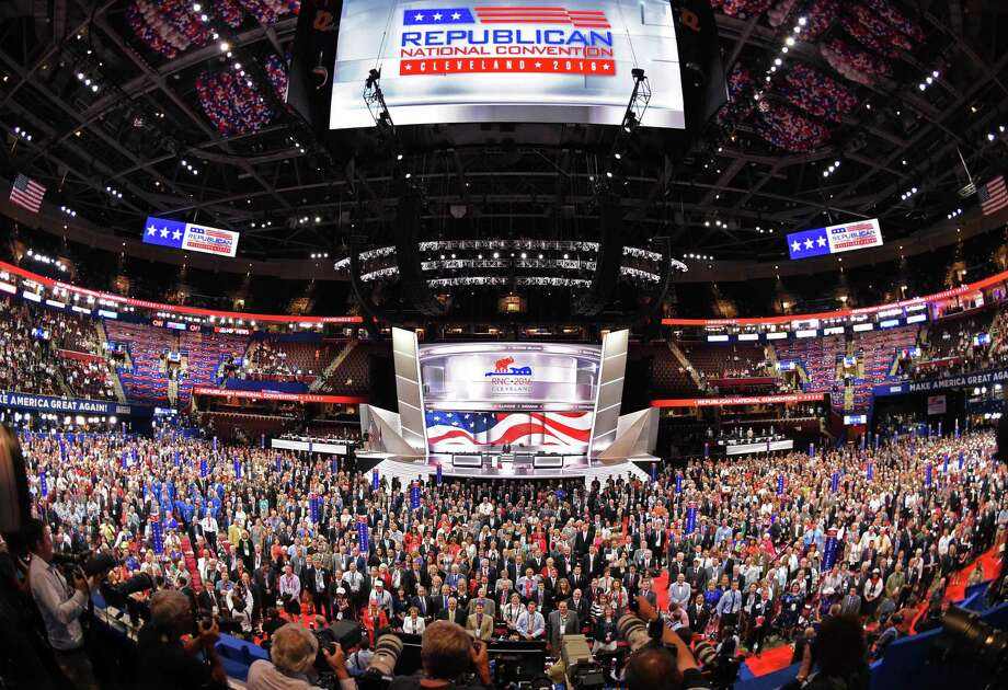 Delegates pose for an official convention photograph on the opening day of the Republican National Convention last week at the Quicken Loans Arena in Cleveland, Ohio. Photo: ROBYN BECK, Staff / AFP or licensors