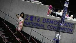 PHILADELPHIA, PA - JULY 23: Winnie Wang takes a selfie as she visits the Wells Fargo Center before the start of the Democratic National Convention on July 23, 2016 in Philadelphia, Pennsylvania. Preparations continue for the start of the Democratic National Convention that formally kicks off on Monday.  (Photo by Joe Raedle/Getty Images)