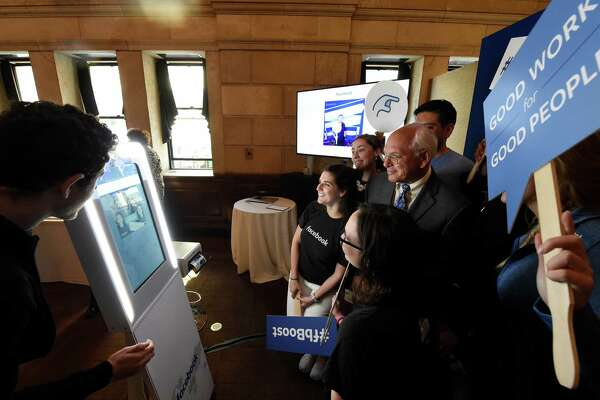 Congressman Paul Tonko gives his keynote speech at a program co-hosted by the Regional Chamber of Commerce and Facebook to discuss how local small businesses boost their business using Facebook at the 90 State Street Event Place in Albany, N.Y. (Skip Dickstein/Times Union)