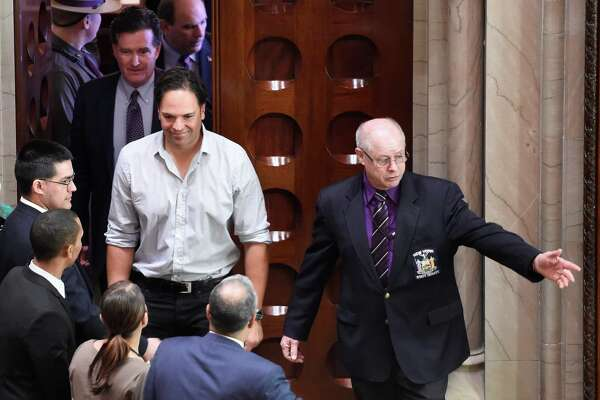 2016 Baseball Hall of Fame inductee Mike Piazza is welcomed to the New York State Senate Chamber at the State Capitol Wednesday, March 9, 2016, in Albany, N.Y.   (Skip Dickstein/Times Union)