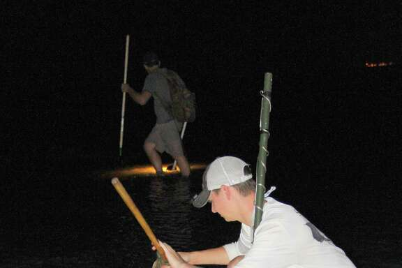 An evening spent gigging flounder in the shallows of a Texas bay is a traditional, and often very productive, way anglers avoid the miserable heat and blazing sunlight of late-summer days.
