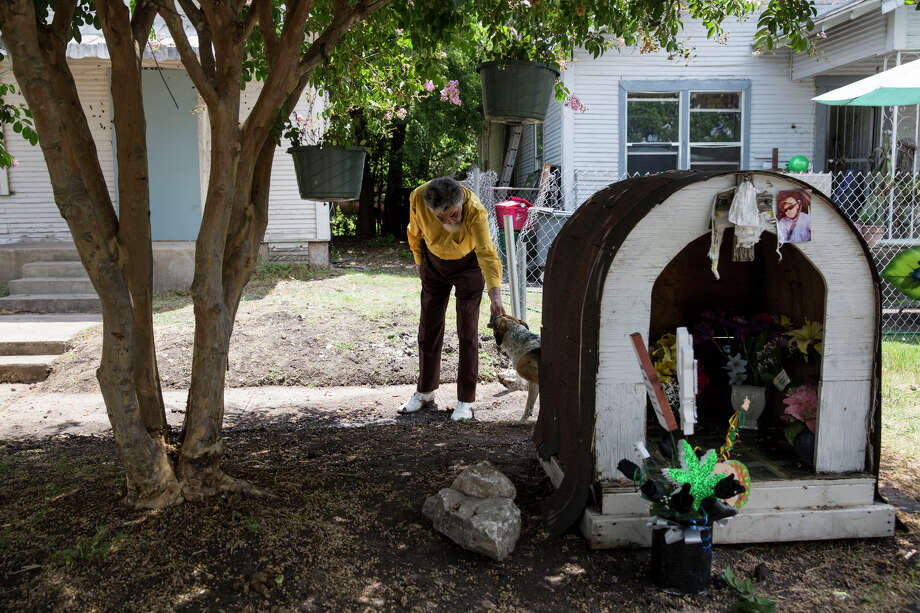 Nathaniel Word pets a dog outside of his home in San Antonio, Texas on July 1, 2016.  He was acquitted in the murder of Anthony Coronado, an event which occurred in the front yard of his home. Photo: Carolyn Van Houten / Carolyn Van Houten / 2016 San Antonio Express-News