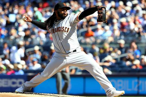 NEW YORK, NY - JULY 23:  Johnny Cueto #47 of the San Francisco Giants delives a pitch in the first inning against the New York Yankees on July 23, 2016 at Yankee Stadium in the Bronx borough of New York City.  (Photo by Elsa/Getty Images)