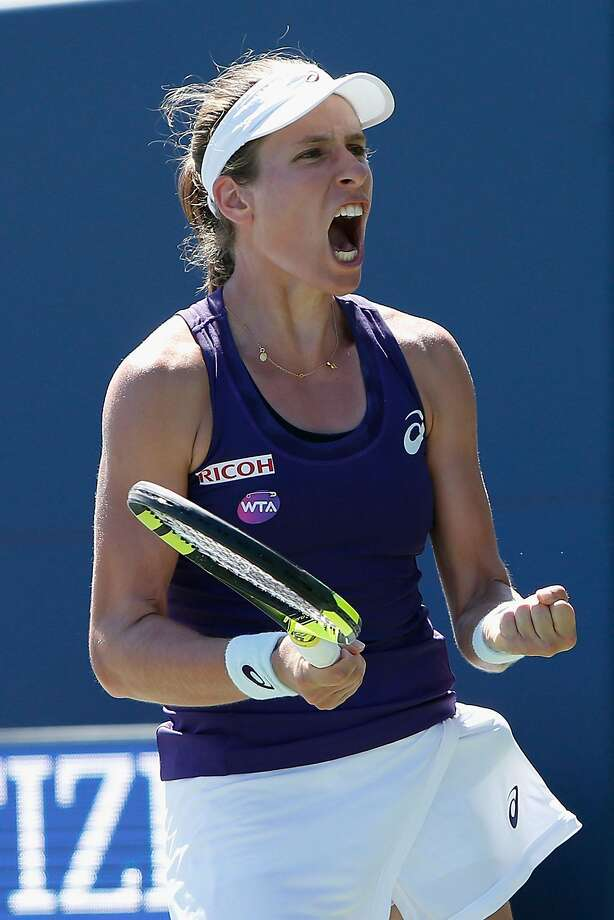 Johanna Konta celebrates after winning a Bank of the West Classic semifinal match 6-4, 6-2 over Dominika Cibulkova at Stanford. Saturday night's second semifinal between Venus Williams and Alson Rsike ended too late for this edition. For the result, go to www.sfchronicle.com/sports. Photo: Lachlan Cunningham, Getty Images