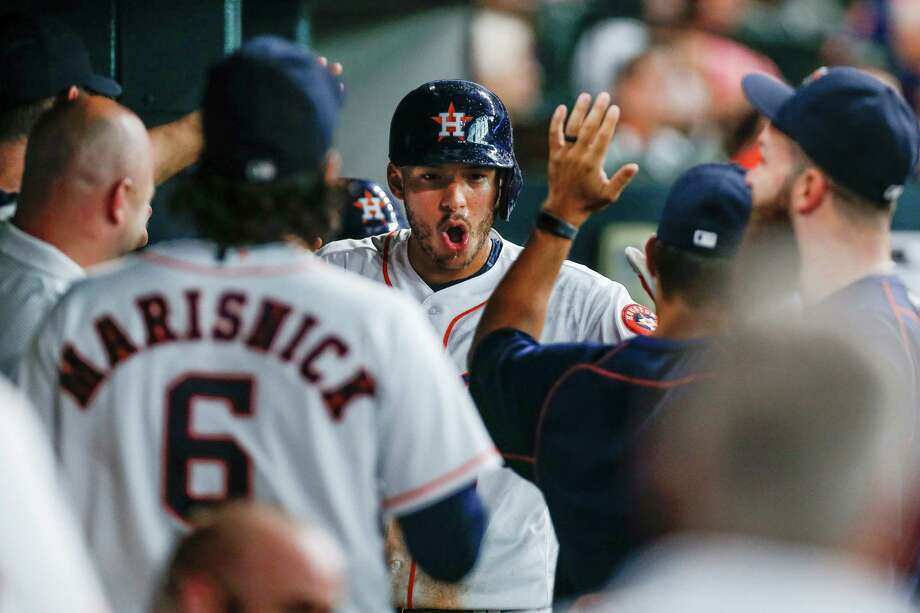 Houston Astros shortstop Carlos Correa (1) celebrates after hitting a home run in the fifth inning as the Houston Astros take on the Los Angeles Angels at Minute Maid Park Saturday, July 23, 2016 in Houston.( Michael Ciaglo / Houston Chronicle ) Photo: Michael Ciaglo, Staff / © 2016  Houston Chronicle