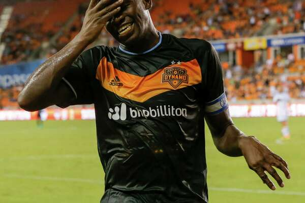 Houston Dynamo midfielder Oscar Garcia reacts after his shot went off the crossbar during the second half against the Vancouver Whitecaps in an MLS soccer match Saturday, July 23, 2016, in Houston. Houston and Vancouver played to scoreless tie. (AP Photo/Bob Levey)