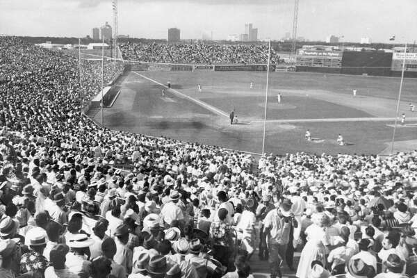 06/10/1962 - Fans pack Colt Stadium to watch the Colt 45s play the Los Angeles Dodgers.
