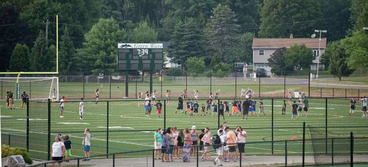 New Milford High School opens it's new athletic field complex for an open house. Youth sports teams try out the north field. Friday, July 22, 2016