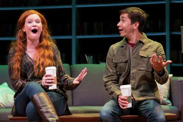 """Mary Wiseman and Justin Long in """"Romance Novels for Dummies"""" at Williamstown Theatre Festival. (WTF publicity photo by T. Charles Erickson.)"""