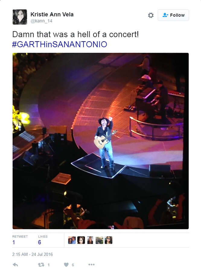Garth Brooks fans hit social media to Tweet appreciation for his San Antonio shows. Photo: Twitter Screen Grabs
