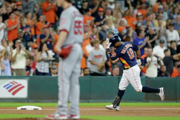 Houston Astros Luis Valbuena rounds the bases on his home run against the Los Angeles Angels during the first inning at Minute Maid Park Sunday, July 24, 2016, in Houston.