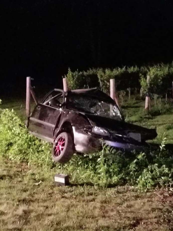A West Haven man was killed in a one-car crash in Orange early Sunday. Photo courtesy of the Orange Police Department. Photo: Contributed