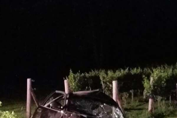 A West Haven man was killed in a one-car crash in Orange early Sunday. Photo courtesy of the Orange Police Department.