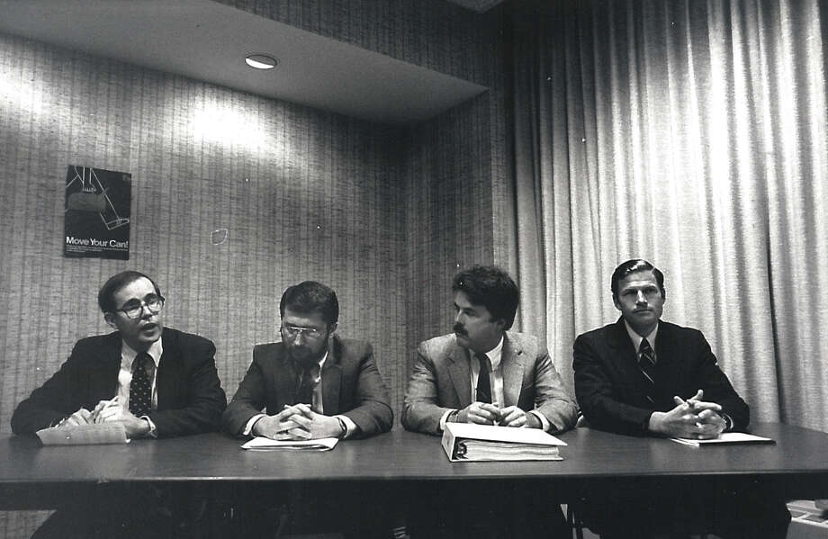 Connecticut General Assembly candidates in the 145th and 148th districts attend a debate on Oct. 18, 1984. From left, 145th District candidate Richard Cunningham, state Rep. Paul Esposito, D-148, Johan Anderson, challenger in the 145th district, and state Rep. Richard Blumenthal, D-148. Photo: File Photo