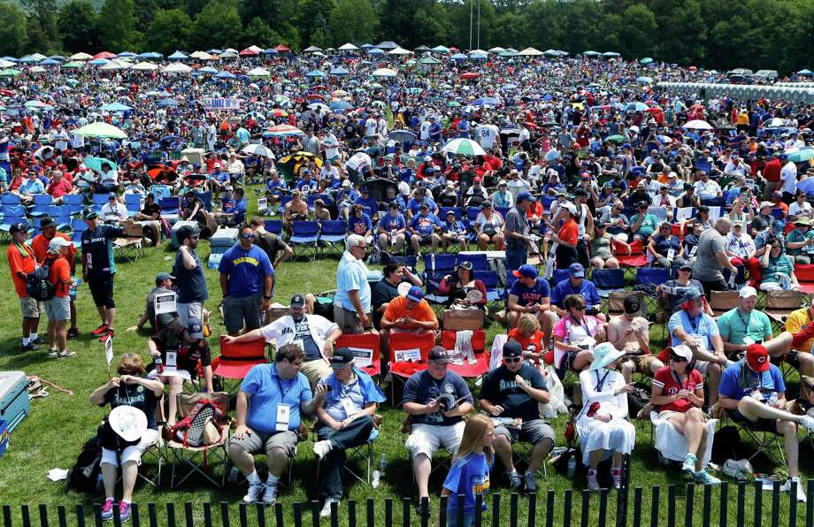 An estimated 50,000 people came to Cooperstown in July of 2016 to witness the induction of Ken Griffey Jr. and Mike Piazza into the Baseball Hall of Fame. Three players will join them in upstate New York in 2018. Click through the slideshow to see the voting results. Photo: Mike Groll / Copyright 2016 The Associated Press. All rights reserved. This m