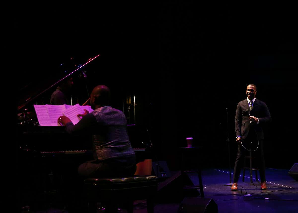 Leslie Odom Jr. performs during his solo show, above, at the Lesher Center for the Arts in Walnut Creek. He reprised is role as Aaron Burr in