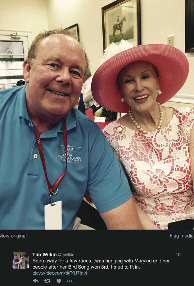 Marylou Whitney with Times Union handicapper Tim Wilkin at Saratoga Race Course on Sunday, July 24, 2016.