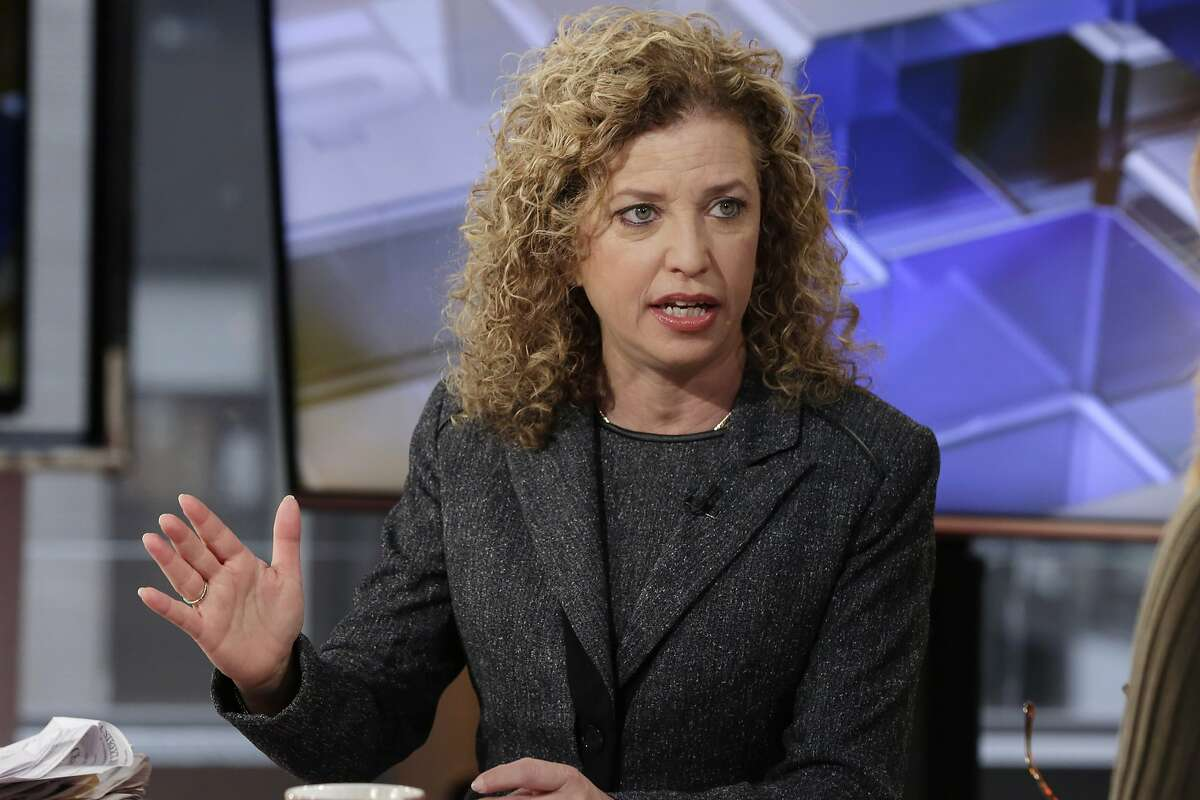 FILE - In this March 21, 2016 file photo, Democratic National Committee (DNC) Chair, Rep Debbie Wasserman Schultz, D-Fla. is interviewed in New York. Two