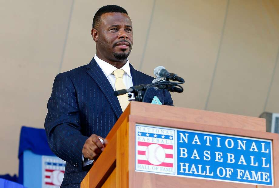 COOPERSTOWN, NY - JULY 24:  Ken Griffey Jr. gives his induction speech at Clark Sports Center during the Baseball Hall of Fame induction ceremony on July 24, 2016 in Cooperstown, New York.  (Photo by Jim McIsaac/Getty Images) Photo: Jim McIsaac, Getty Images