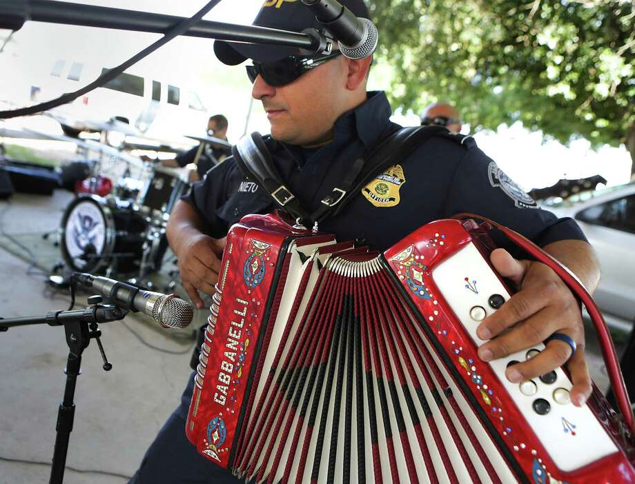 Javier Nieto plays his accordion during a Los Federales performance at a community outreach event in May near Rio Grande City. Photo: Bob Owen, Staff / ©2016 San Antonio Express-News