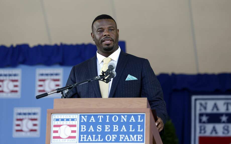 National Baseball Hall of Fame inductee Ken Griffey Jr. speaks during an induction ceremony at the Clark Sports Center on Sunday, July 24, 2016, in Cooperstown, N.Y. (AP Photo/Mike Groll) Photo: Mike Groll/AP