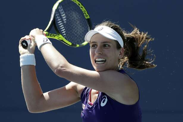 Johanna Konta, of Britain, watches a return to Venus Williams, of the United States, during the final in the Bank of the West Classic tennis tournament Sunday, July 24, 2016, in Stanford, Calif. Konta won 7-5, 5-7, 6-2. (AP Photo/Marcio Jose Sanchez)