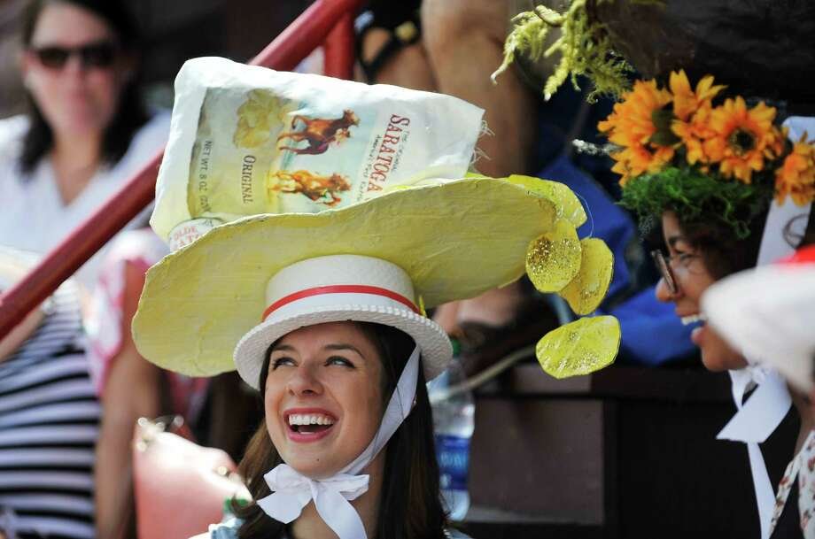 Annie Mills of Cobleskill took third place in the Uniquely Saratoga category at the 25th Annual Hats off to Saratoga hat contest presented by Hat Sational by DEI at the Saratoga Race Course on Sunday, July 24, 2016, in Saratoga Springs, N.Y.  Winners in the children's only category, Kreative Kids,  received a hat from Hat Sational and Saratoga Race Course merchandise.  Winners in the two other categories, Fashionably Saratoga, and Uniquely Saratoga, received gift certificates to Hat Sational for either $25, $50 or $100.  (Paul Buckowski / Times Union) Photo: PAUL BUCKOWSKI / 20037406A