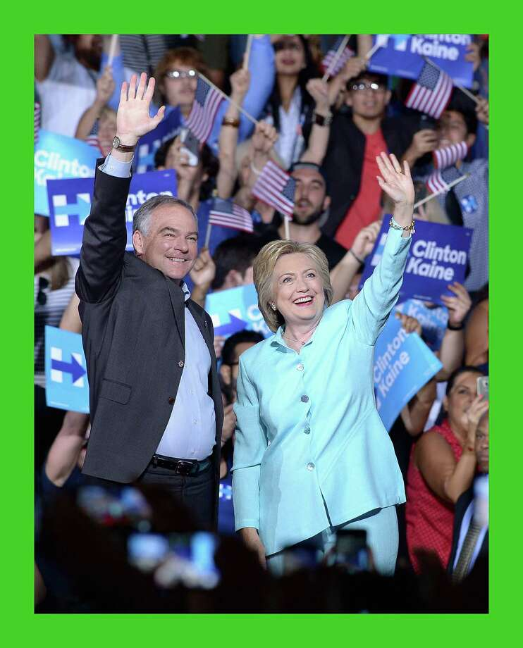 MIAMI, FL - JULY 23:  Democratic presidential candidate former Secretary of State Hillary Clinton and Democratic vice presidential candidate U.S. Sen. Tim Kaine (D-VA) attend together a campaign rally at Florida International University Panther Arena on July 23, 2016 in Miami, Florida. Hillary Clinton and  Tim Kaine made their first public appearance together a day after the Clinton campaign announced Senator Kaine as the Democratic vice presidential candidate.   (Photo by Gustavo Caballero/Getty Images) Photo: Gustavo Caballero, Staff / Getty Images / 2016 Getty Images
