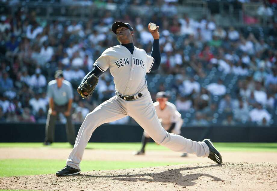 SAN DIEGO, CALIFORNIA - JULY 3:  Aroldis Chapman #54 of the New York Yankees plays during a baseball game against the San Diego Padres at PETCO Park on July 3, 2016 in San Diego, California.  (Photo by Denis Poroy/Getty Images) Photo: Denis Poroy, Contributor / 2016 Denis Poroy