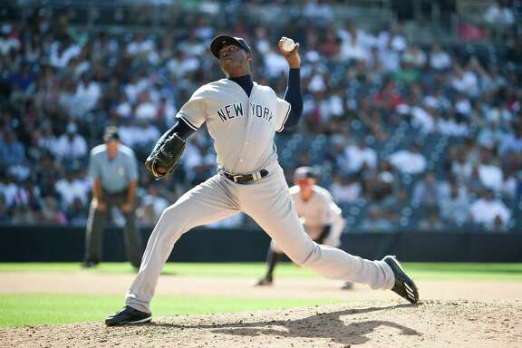 SAN DIEGO, CALIFORNIA - JULY 3:  Aroldis Chapman #54 of the New York Yankees plays during a baseball game against the San Diego Padres at PETCO Park on July 3, 2016 in San Diego, California.  (Photo by Denis Poroy/Getty Images)