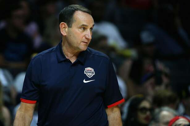 LOS ANGELES, CA - JULY 24:  Head Coach Mike Krzyzewski of the United States talks to his team against China during the first half of a USA Basketball showcase exhibition gameat Staples Center on July 24, 2016 in Los Angeles, California.  (Photo by Sean M. Haffey/Getty Images)