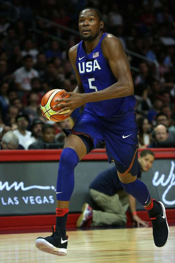 LOS ANGELES, CA - JULY 24:  Kevin Durant #5 of the United States dribbles upcourt against China during the second half of a USA Basketball showcase exhibition game at Staples Center on July 24, 2016 in Los Angeles, California.  (Photo by Sean M. Haffey/Getty Images) Photo: Sean M. Haffey, Getty Images