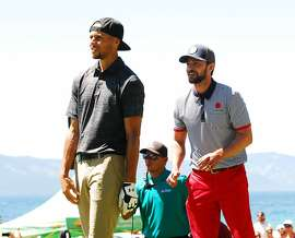 Stephen Curry, Justin Timberlake and Anthony Ribeiro played golf in front of �big crowds at the American Century Championship at Edgewood Tahoe Golf course in Stateline, Nev., on July 23. The trip played a lot of golf and found time to ham it up, too, especially on the tournament's raucous 17th hole, which runs alongside Lake Tahoe.