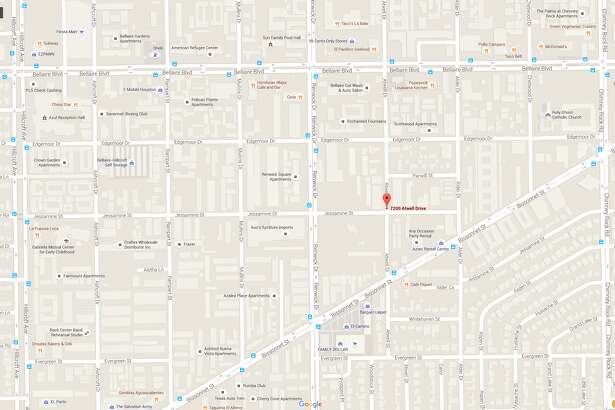 A screenshot of a Google Maps image of the 7200 block of Atwell Drive in southwest Houston, Texas. On July 25, 2016, a man died after he was shot in the area. Investigators say he managed to walk back to his apartment complex and tell roommates what had happened before collapsing.
