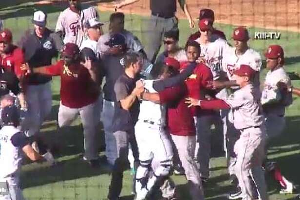 The Corpus Christi Hooks and the Frisco Roughriders - the Class AA teams for the Houston Astros and Texas Rangers - got into a benches-clearing brawl Sunday at Whataburger Field in Corpus Christi.