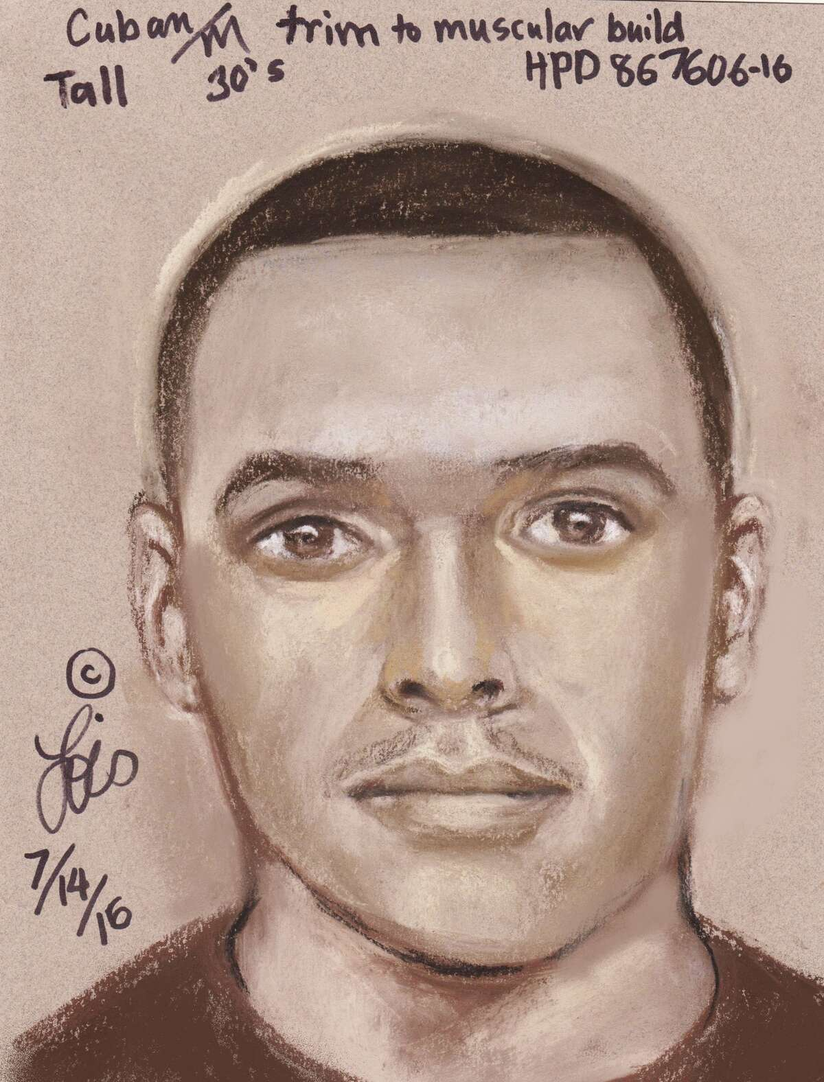 Police have released this composite sketch of the suspect in a machete attack about 2 a.m. July 6, 2016, at 9500 Jaywood near West Gulf Bank. (Houston Police Department)
