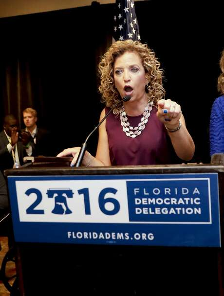DNC Chairwoman, Debbie Wasserman Schultz, D-Fla., speaks during a Florida delegation breakfast, Monday, July 25, 2016, in Philadelphia, during the first day of the Democratic National Convention. (AP Photo/Matt Slocum) Photo: Matt Slocum, Associated Press