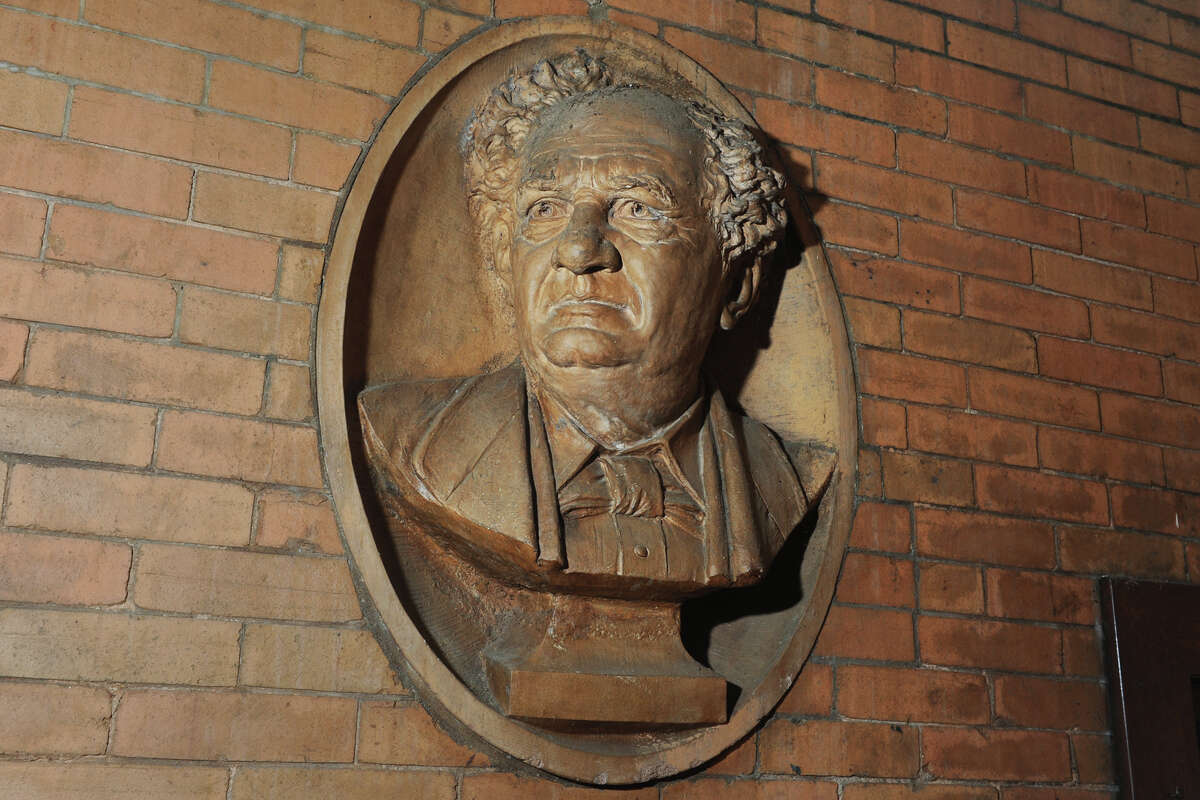 A bas-relief bust of P.T. Barnum in the Barnum Museum, in Bridgeport, Conn. July 14, 2016.