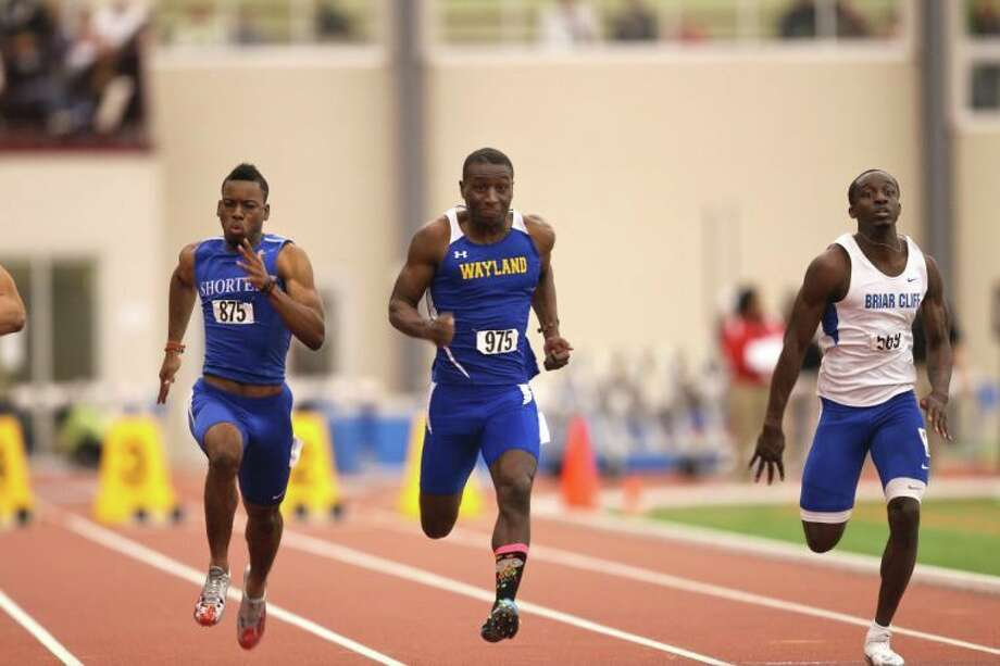 Wayland's Gregory Turner (center, pictured at the 2012 indoor national championships), was one of eight Pioneers to earn automatic qualification to the 2013 national championship based on their performances this weekend. Photo: Wayland Baptist University Photo  / © Ryan Baker 2010
