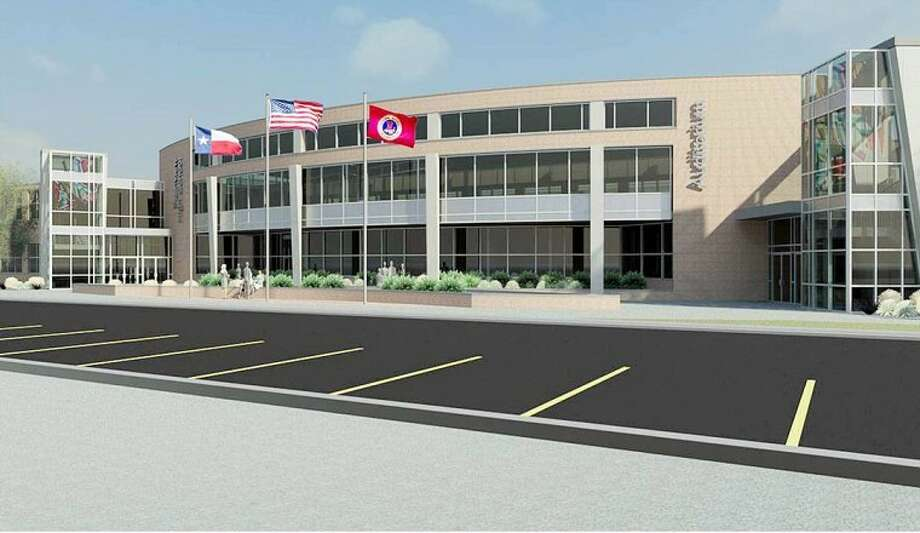 An artist's rendition from ChapmanHarvey Architects, Inc, of proposed renovations to Plainview High School shows how the front of the building would look once work was complete. Photo: Courtesy Photo