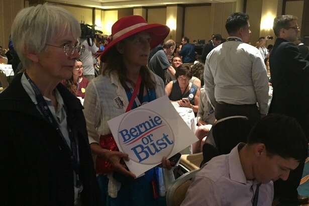 Bernie Sanders delegates boo every mention of Hillary Clinton at the California delegation breakfast Monday morning in Philadelphia.