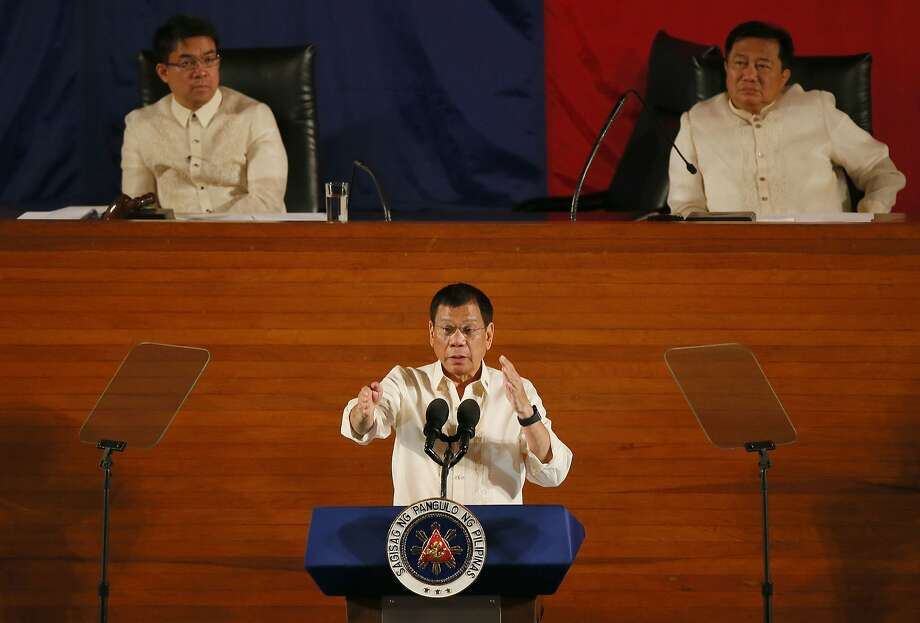 Philippine President Rodrigo Duterte delivers his first State of the Nation Address at Quezon City. Photo: Bullit Marquez, Associated Press