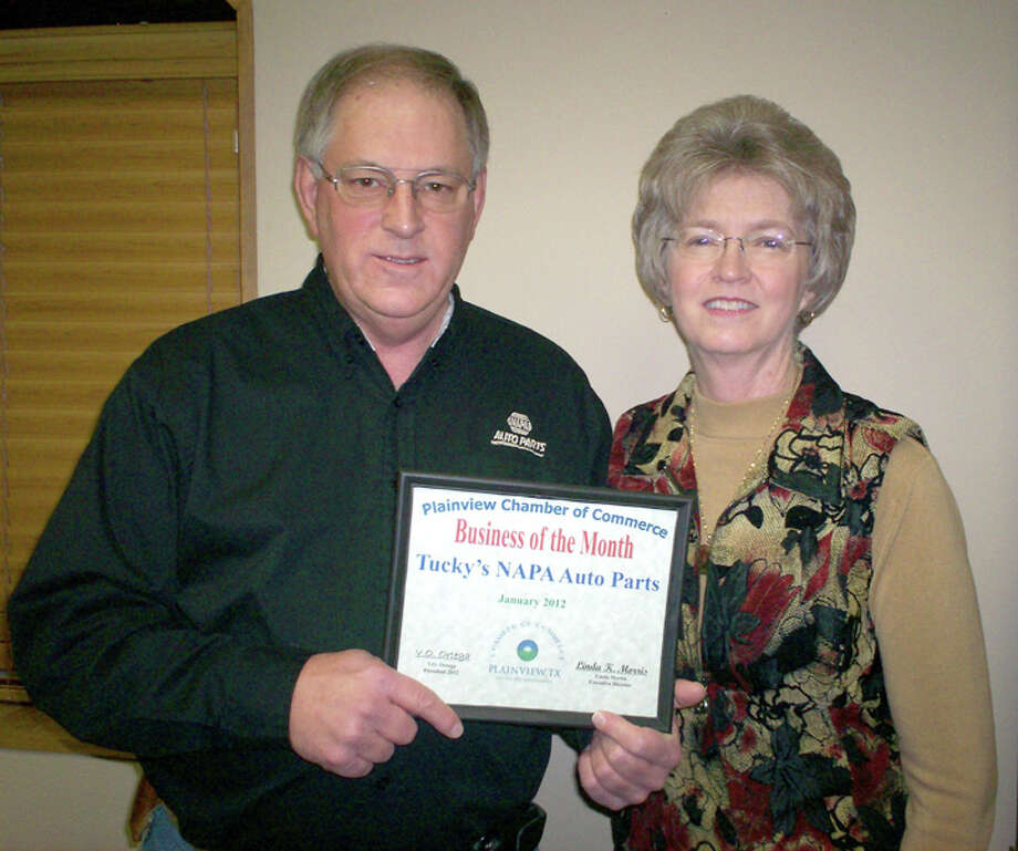 Nicki Bruce Logan/Plainview HeraldThe Chamber of Commerce board honored Johnny and Carolyn McDonald, owners of Tucky's NAPA Auto Parts on Wednesday as its Business of the Month. The couple moved to Plainview in 1975 and purchased Tucky's Auto Parts six years later. They also own Tulia Auto Parts.