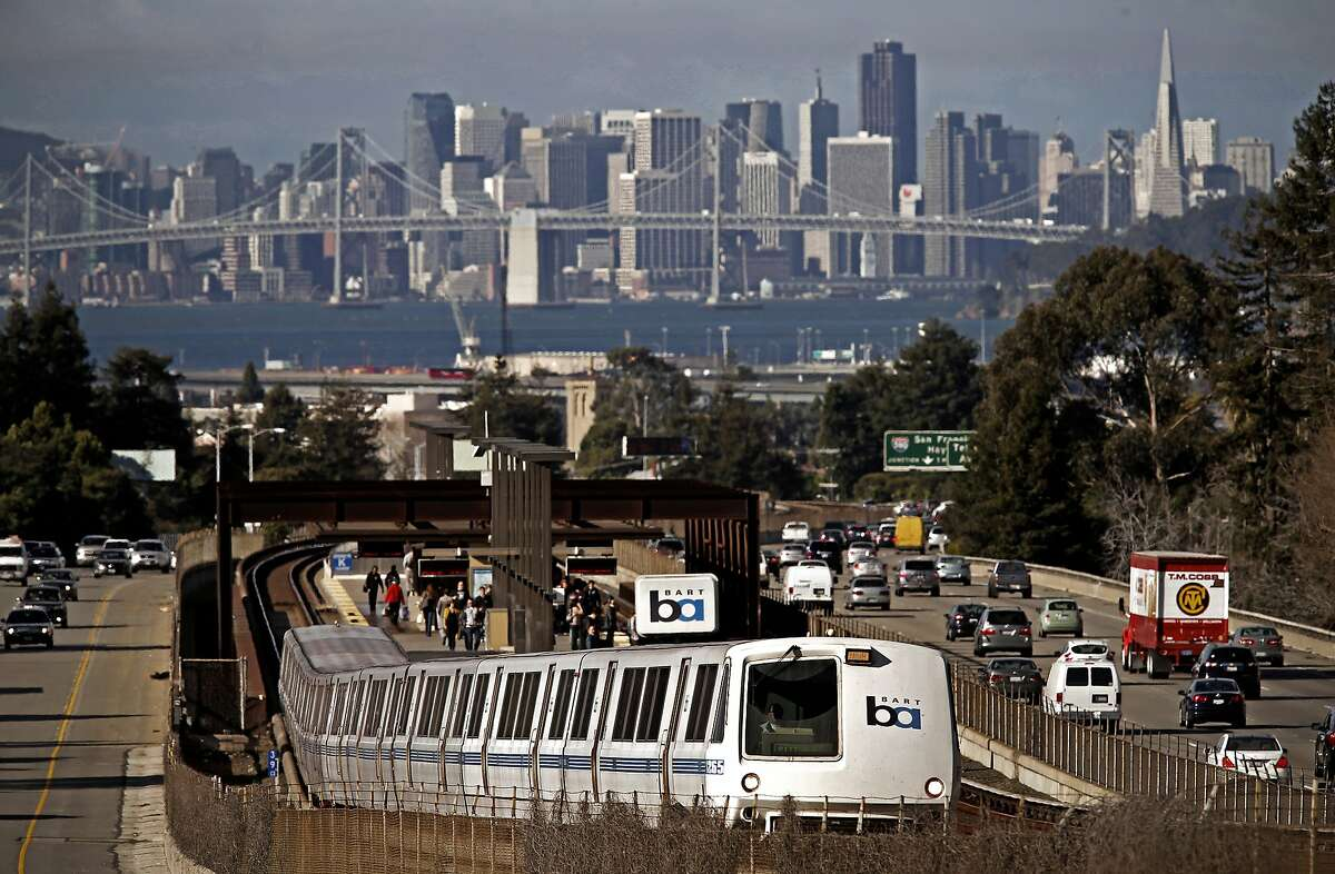 An east bound train pulls away from the Rockridge BART station in Oakland, Calif., on Fri. February 27, 2015.